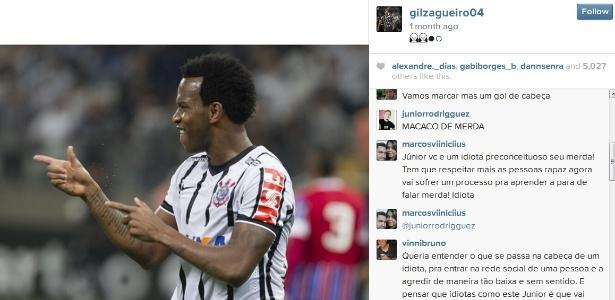 Instagram de Gil foi alvo de ofensa racista - Reprodução