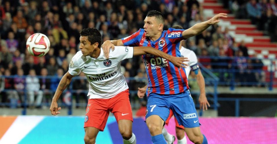 Marquinhos marca Duhamel na partida entre PSG e Caen