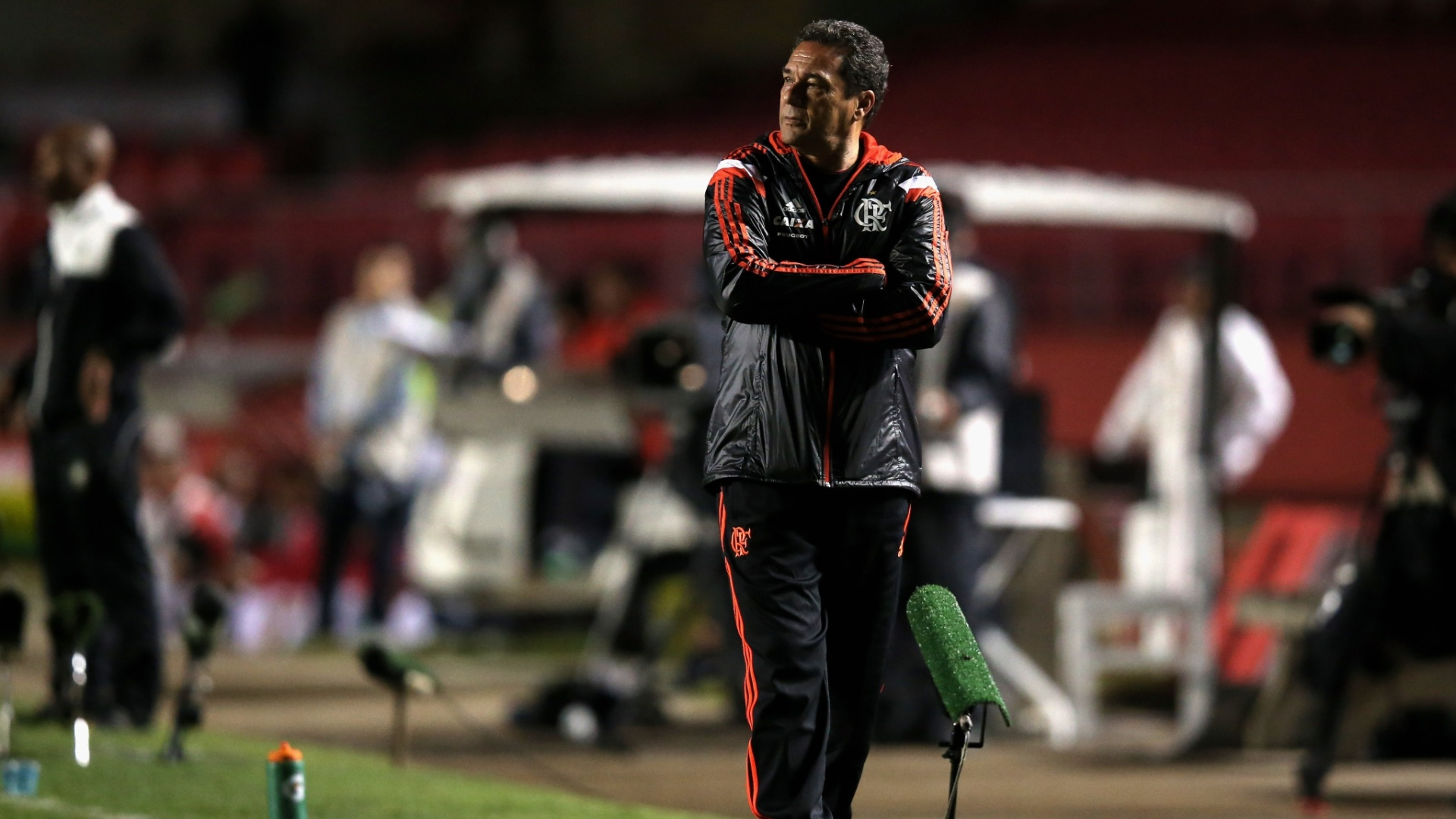 Vanderlei Luxemburgo observa o jogo entre São Paulo e Flamengo no Morumbi (24.set.2014)