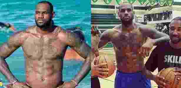 LeBron James, em agosto de 2013 (esq) e agosto de 2014 (dir) - Reprodução/Instagram