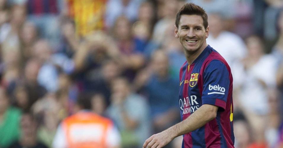Detalhe de Lionel Messi, atacante do Barcelona, durante a goleada da equipe catalã sobre o Granada, em que o argentino completou 400 gols na carreira