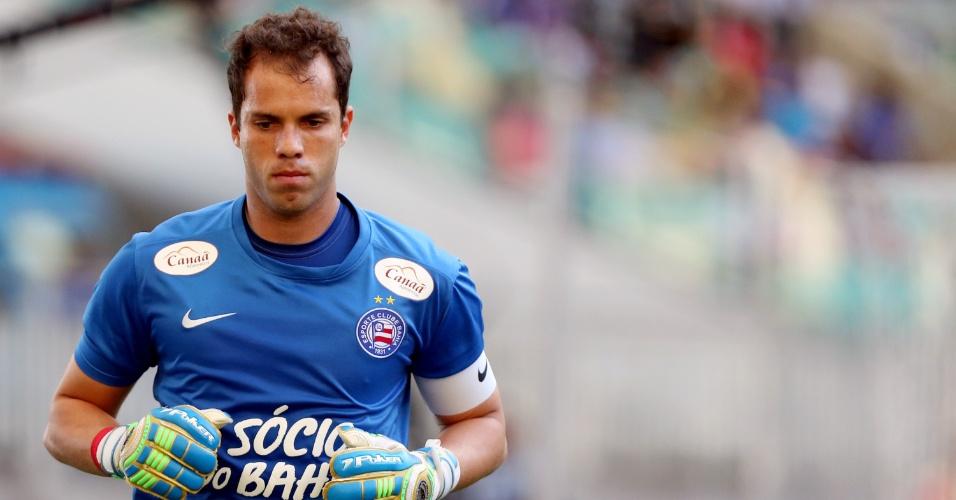 Marcelo Lomba, goleiro do Bahia, corre durante jogo contra o Flamengo