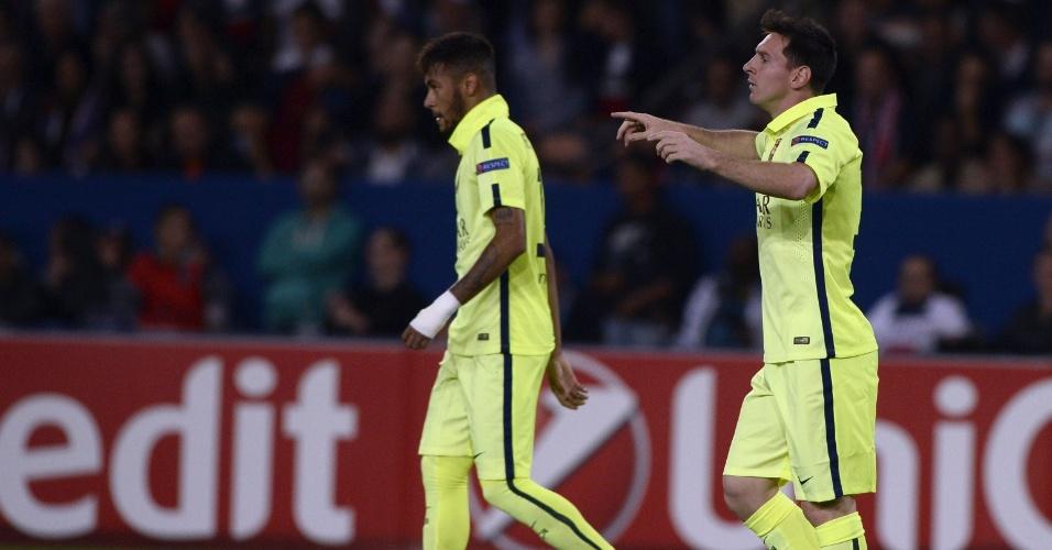 Messi comemora gol do Barcelona ao lado de Neymar