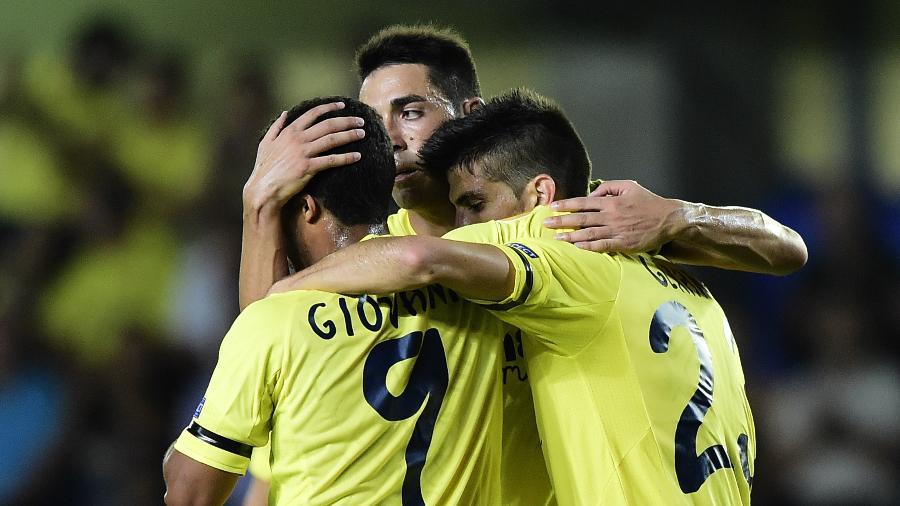 Gerard Moreno, do Villarreal, comemora gol contra o Apollon Limassol na Liga Europa - AFP PHOTO / JOSE JORDAN