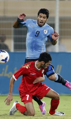 Luis Suárez em ação na vitória do Uruguai sobre Omã