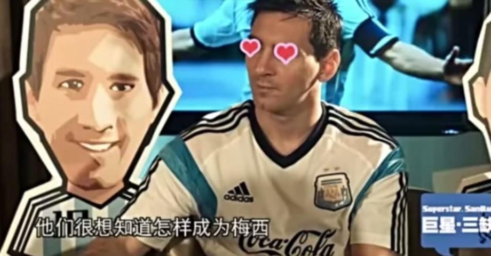 15.out.2014 - Lionel Messi concede entrevista bizarra à TV chinesa