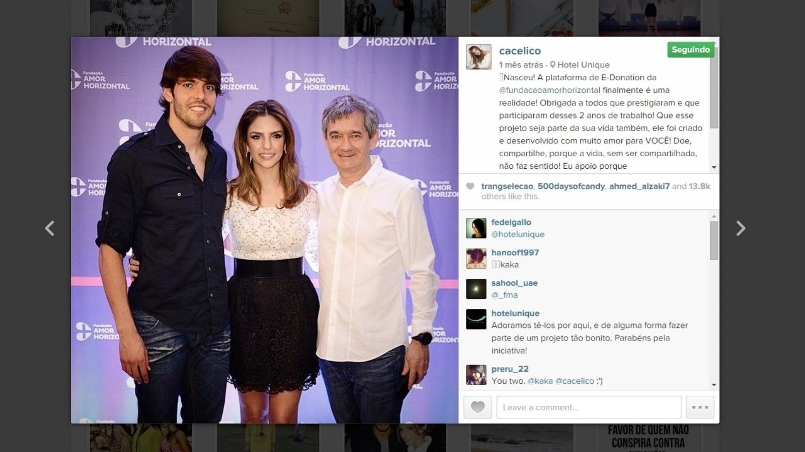 Kaká e Serginho Groisman vão ao lançamento do projeto social Amor Horizontal, presidido por Carol Celico. O marido e o amigo da It Girl são embaixadores do projeto