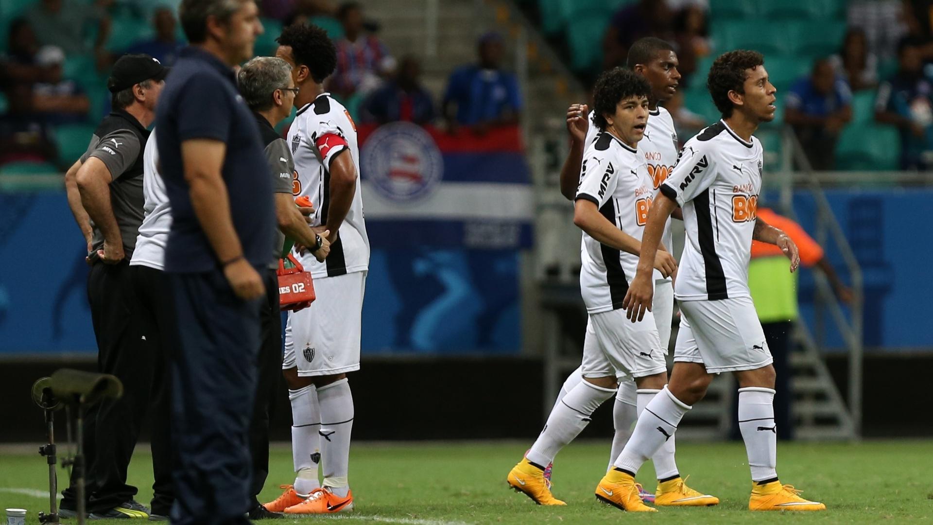 Jogadores do Atlético-MG comemoram gol contra o Bahia pelo Brasileirão