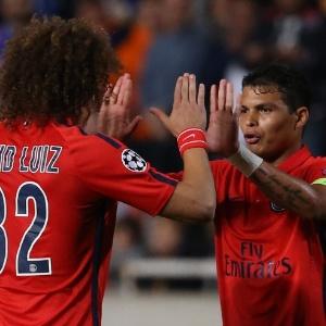 Thiago Silva e David Luiz em jogo da Liga