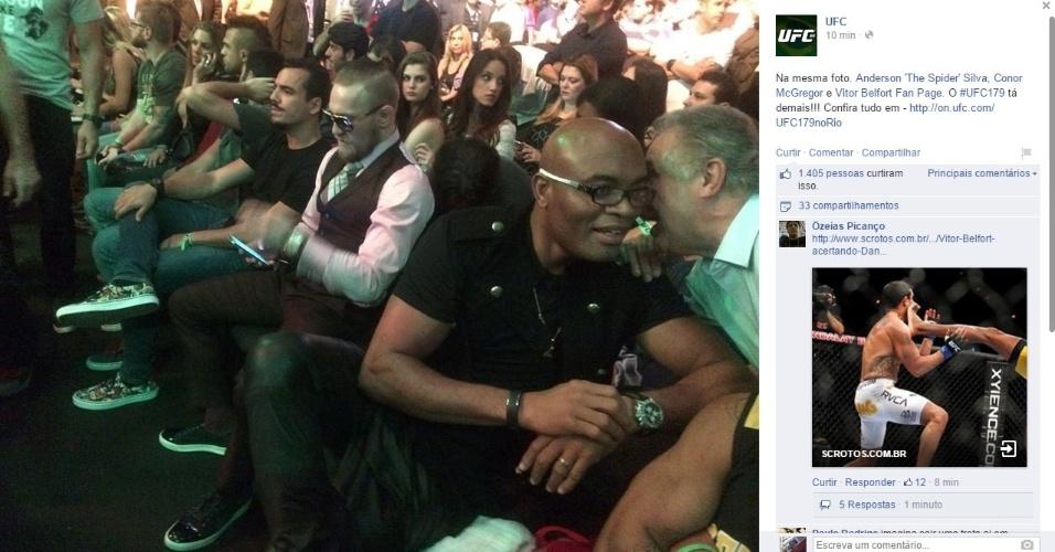 Anderson Silva compareceu ao Maracanazinho para ver o UFC e ouviu gritos de 'o campeão voltou'