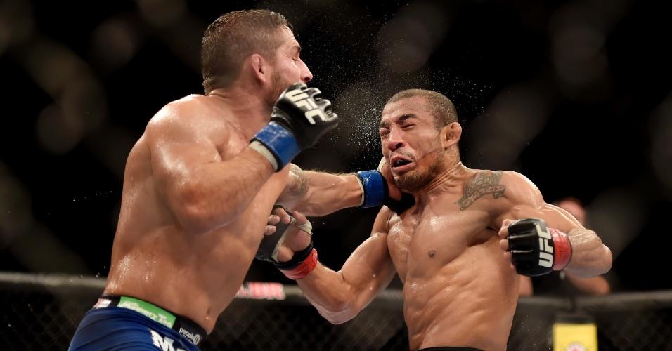 José Aldo saiu desfigurado do octógono, mas venceu Chad Mendes por decisão unânime dos jurados e manteve o cinturão dos penas do UFC