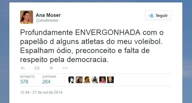 Ana Moser critica atletas do vôlei que fizeram comentários polêmicos sobre as eleições