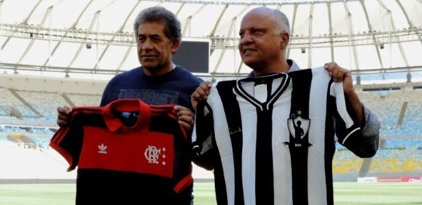 Nunes (e) e Reinaldo (d) foram grandes rivais com as cores de Flamengo e Atlético-MG
