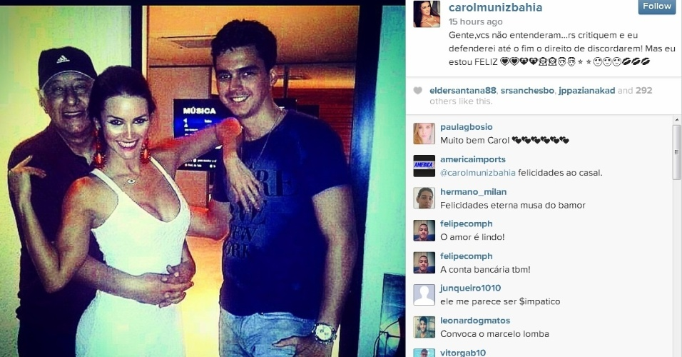 Carol Muniz tem 28 anos, 45 anos a menos do que Marco Polo Del Nero, seu atual namorado
