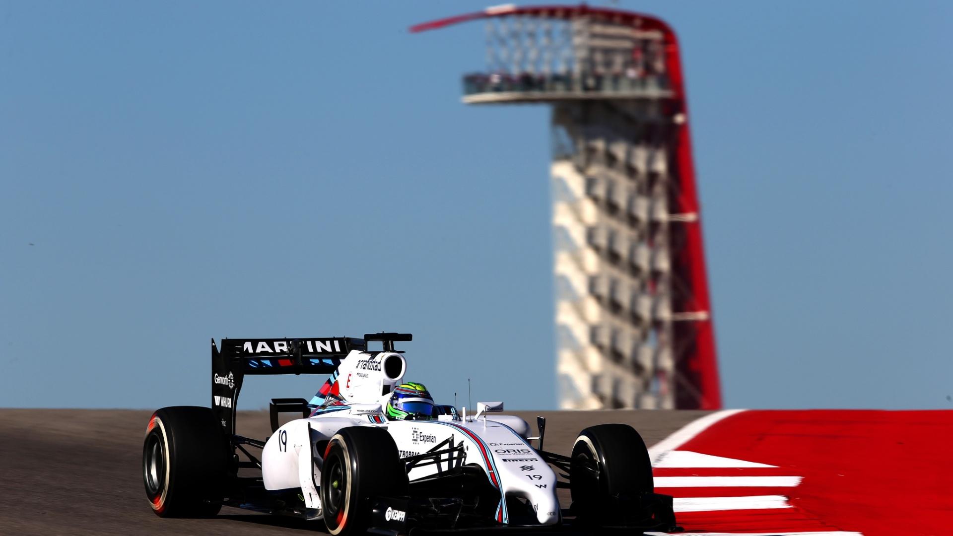 Felipe Massa, brasileiro da Williams, durante o primeiro treino livre para o Grande Prêmio dos EUA de Fórmula 1