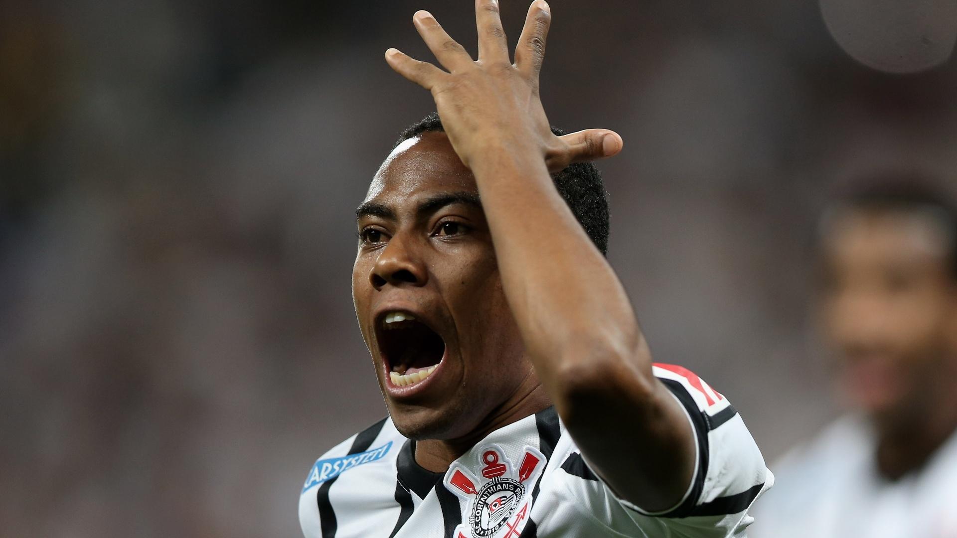 Elias comemora gol do Corinthians contra o Coritiba pelo Brasileirão