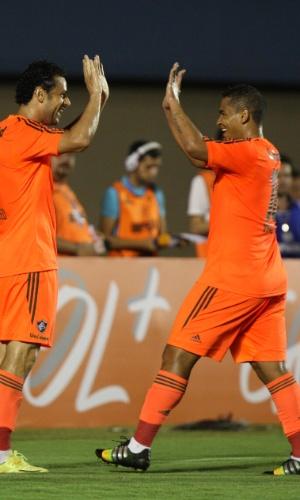 Fred comemora gol do Fluminense sobre o Goiás no Campeonato Brasileiro