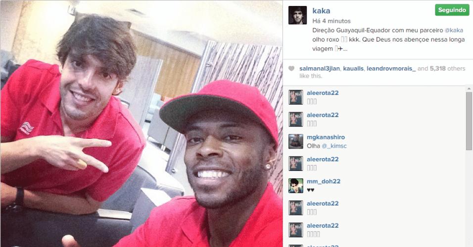 03. nov. 2014 - Kaká viaja com olho roxo para o Equador