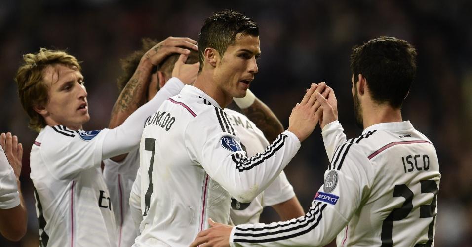 Cristiano Ronaldo comemora gol do Real Madrid contra o Liverpool pela Liga dos Campeões