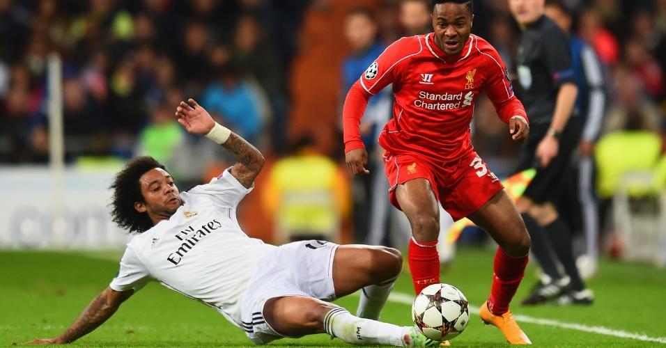 Marcelo dá carrinho Sterling em vitória do Real Madrid sobre Liverpool