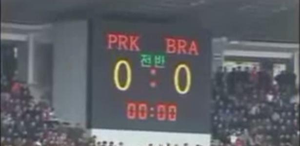 Placar do estádio indicava jogo da Coreia do Norte contra o Brasil