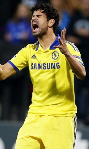 Diego Costa, atacante do Chelsea, lamenta chance perdida contra o Maribor, pela Liga dos Campeões