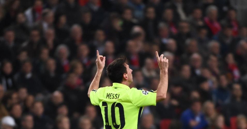 Messi comemora seu gol pelo Barcelona na Liga dos Campeões