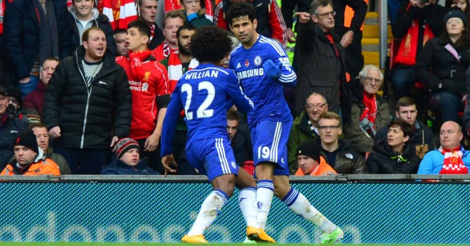 Com gol de Diego Costa, Chelsea fez 2 a 1 no Liverpool