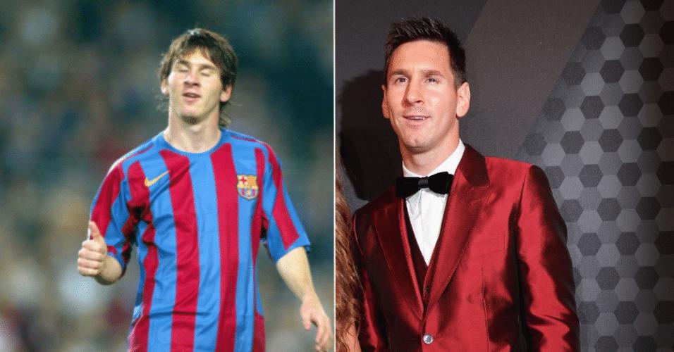 Messi sempre foi mais tímido, mas também mudou bastante desde que surgiu no Barcelona. A foto à esquerda é de 2006. A da direita é do argentino na cerimônia da Bola de Ouro da Fifa