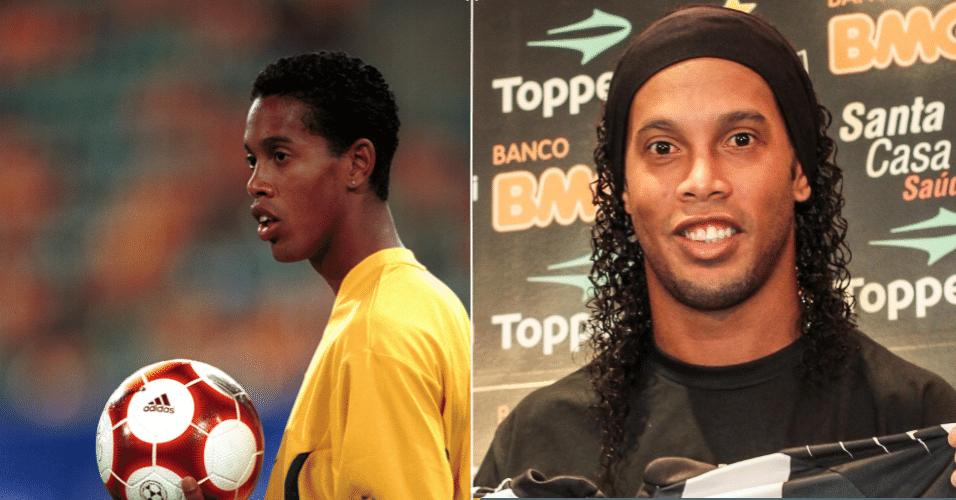 Ronaldinho Gaúcho nunca foi exemplo de beleza, mas depois da fama o jogador assumiu as madeixas mais longas, que são exibidas sempre com bastante brilho