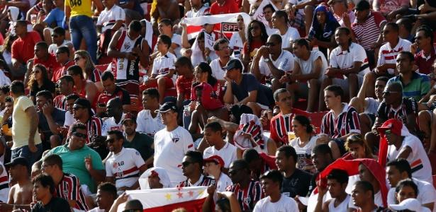Torcedores do São Paulo presentes no Barradão para o jogo com o Vitória - Felipe Oliveira/Getty Images