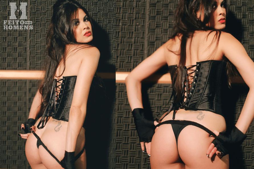 Camila Oliveira, a ring girl brasileira mais veterana do UFC, posa para um ensaio sensual picante, em que foi clicada de lingerie, como cantora e até com uma guitarra. A modelo posou para o site Feito Para Homens