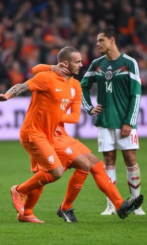Sneijder comemora o gol da Holanda para tristeza de Chicharito Hernádez (fundo)