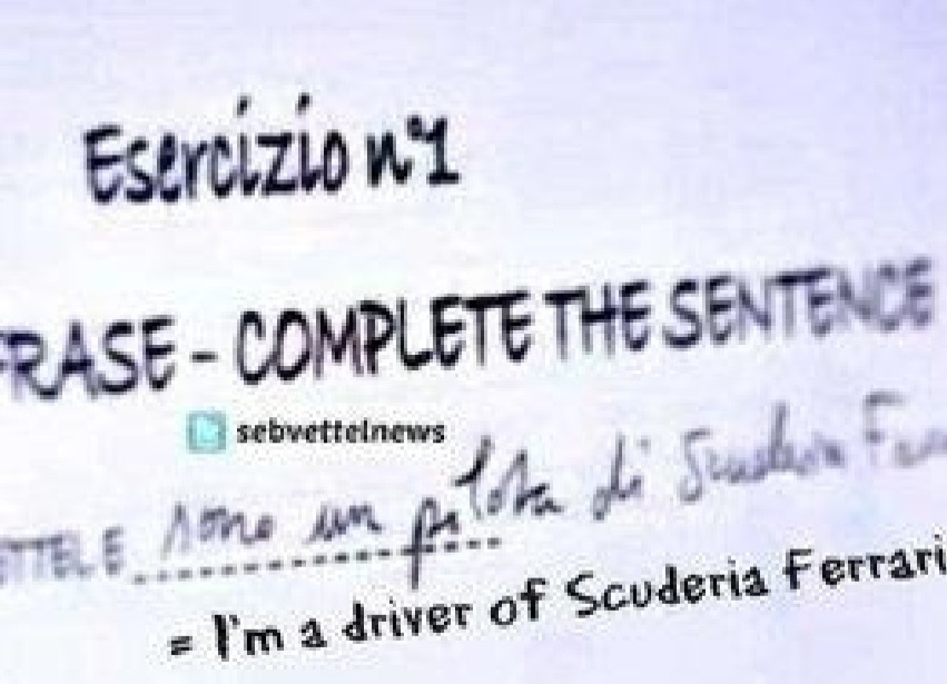 Suposto formulário preenchido por Sebastian Vettel como piloto da Ferrari