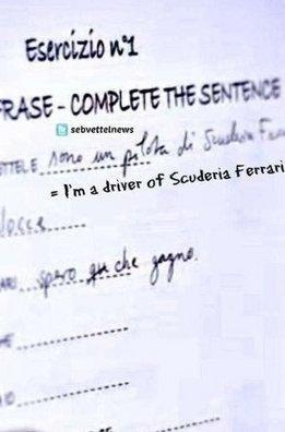 Suposto formulário preenchido por Sebastian Vettel para a Ferrari