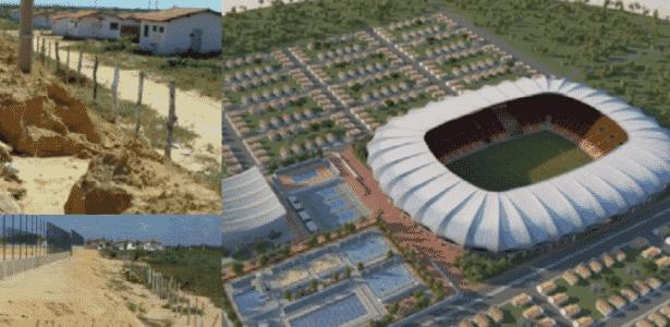 Montagem mostra diferença entre projeto e execução da Vila Olímpica de Parnaíba (PI) - Divulgação/TCU