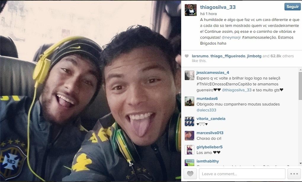 17.11.2014 - Thiago Silva publica foto com Neymar no Instagram e brinca com polêmica:
