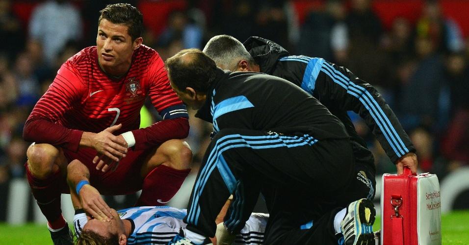 Cristiano Ronaldo acompanha recuperação de Lucas Biglia, argentino que se lesionou em jogada com o português