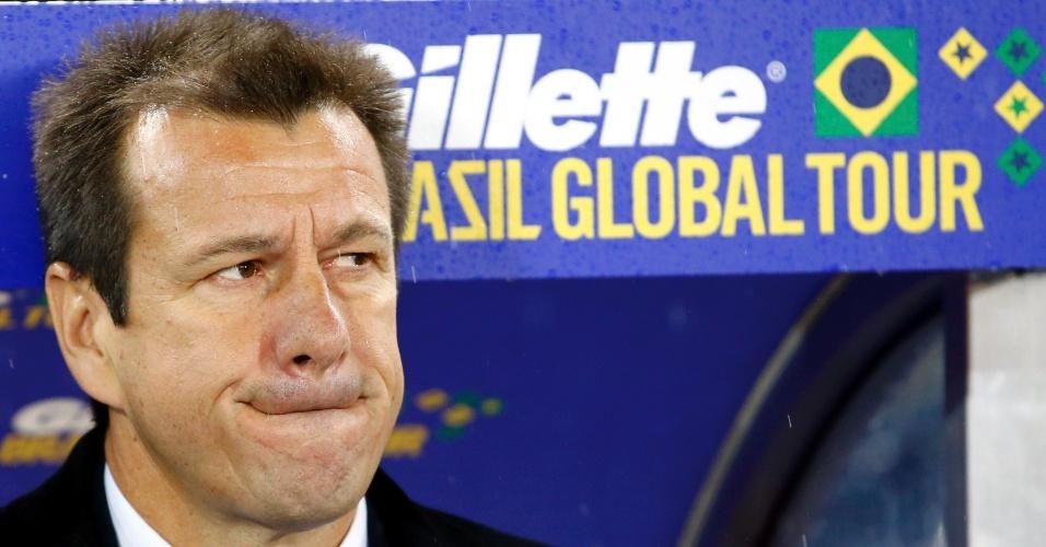 Dunga faz careta após atuação do Brasil contra a Áustria em amistoso internacional