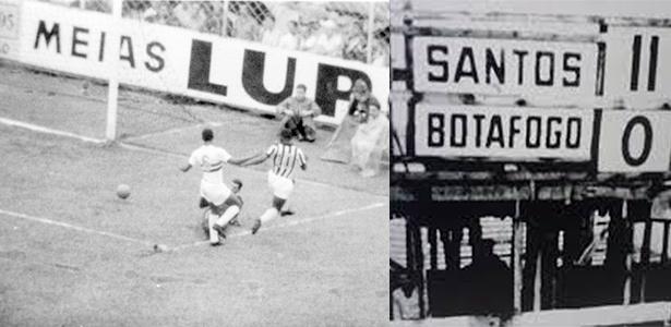 Pelé anota um de seus oito gols na histórica goleada sobre o Botafogo-SP por 11 a 0