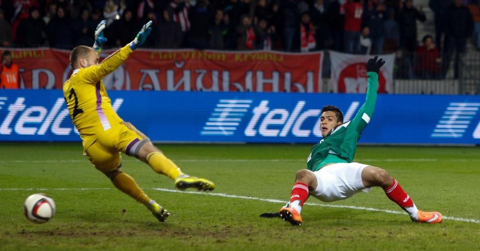 Raul Jimenez marca gol do México em amistoso contra Belarus
