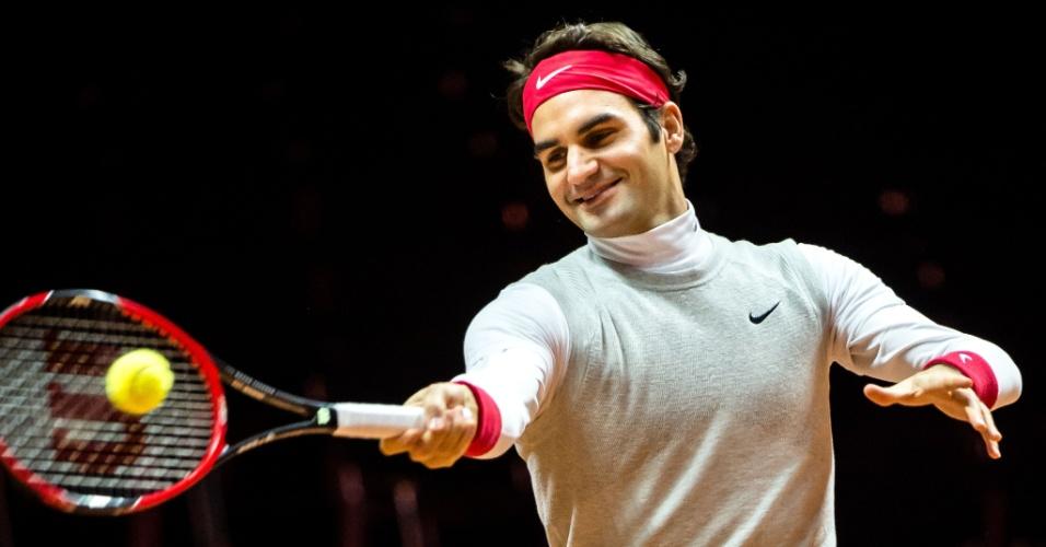 Roger Federer faz seu primeiro treino em Lille