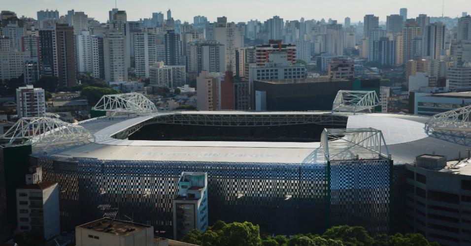 Vista externa do novo estádio do Palmeiras
