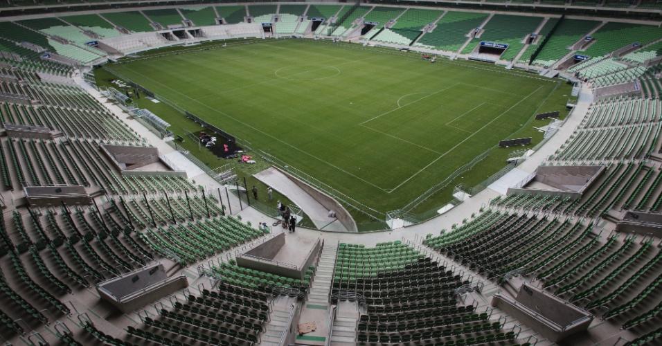 Vista interna do Allianz Park, novo estádio do Palmeiras