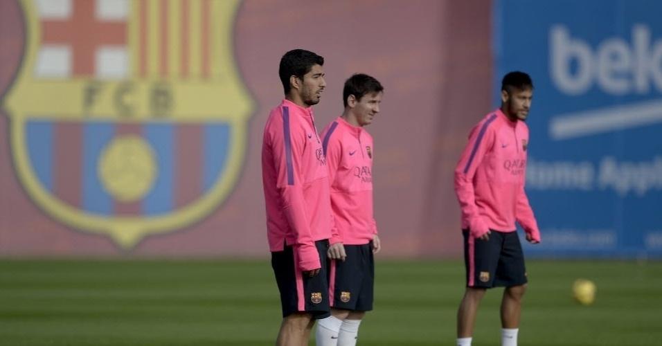 Trio de ataque do Barcelona treina na cidade esportiva Joan Gamper para o jogo contra o Sevilla, pela 12ª rodada do Espanhol, nesse fim de semana