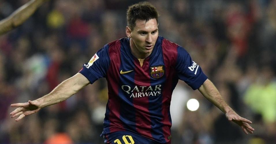 Messi celebra seu gol, o 1° do Barcelona sobre o Sevilla