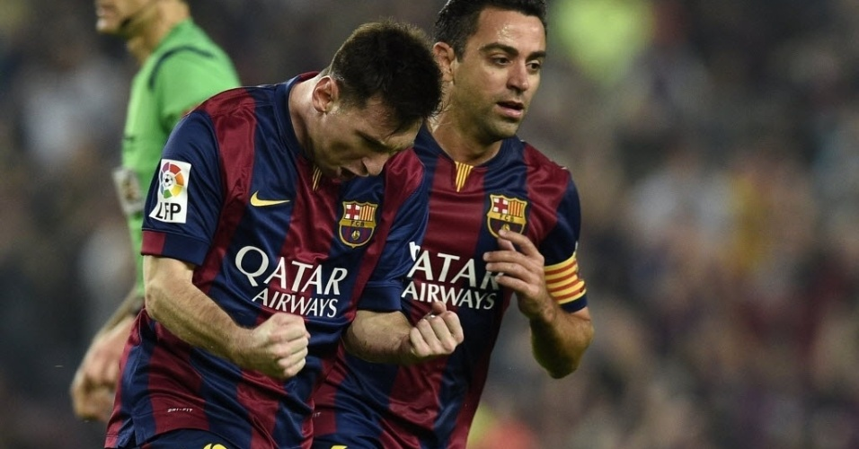 Messi comemora após abrir o placar para o Barcelona sobre o Sevilla