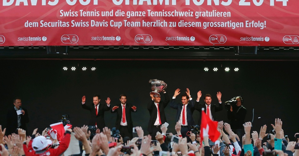 Durante a cerimônia, os jogadores fizeram discursos e agradeceram o apoio dos torcedores