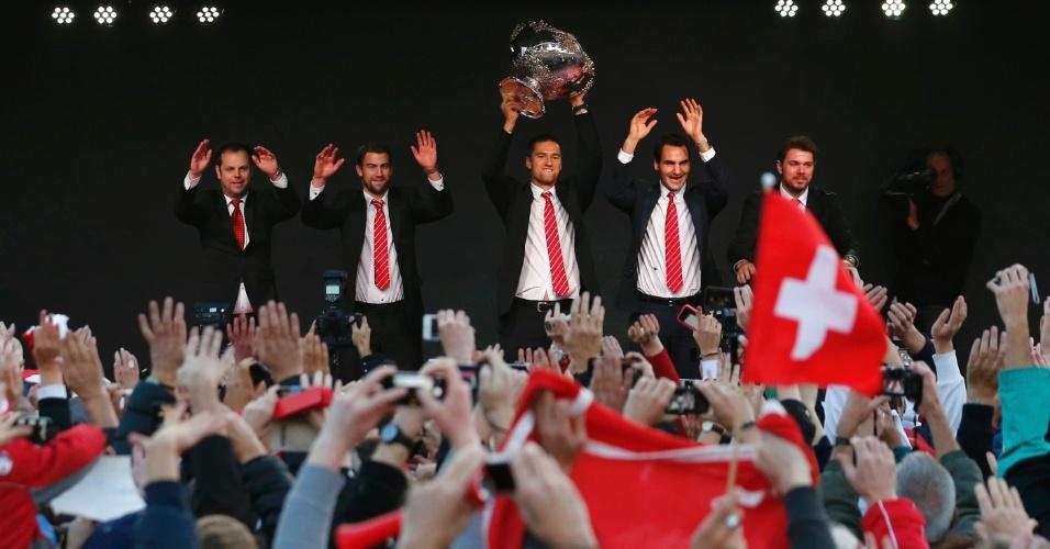 Equipe da Suíça, campeã da Copa Davis, participa de evento de comemoração na cidade de Lausanne