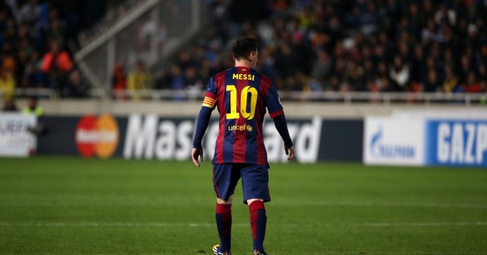 Messi durante jogo do Barcelona na Liga dos Campeões